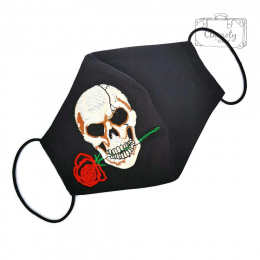 BLACK COTTON PROTECTIVE MASK WITH A WHITE SKULL AND A RED ROSE IN THE TEETH